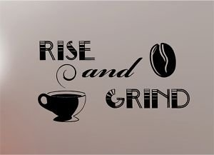 Online Design Grind Coffee Quote Wall Art Sticker Vinyl Kitchen - Yellow