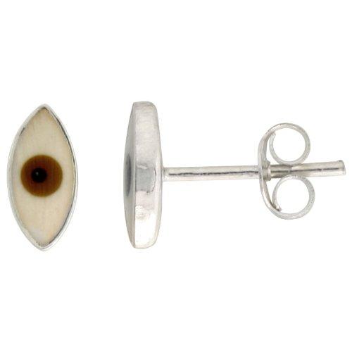 Sterling Silver Brown Eye Stud Earrings,