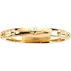 10k Yellow Gold Rosary Ring - Size N 1/2 - Higher Gold Grade Than 9ct Gold