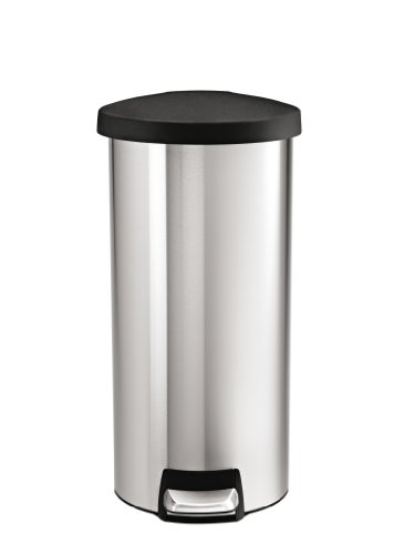simplehuman Round Step Trash Can, Stainless Steel, Plastic Lid, 30 L / 8 Gal (Home Trash Can compare prices)