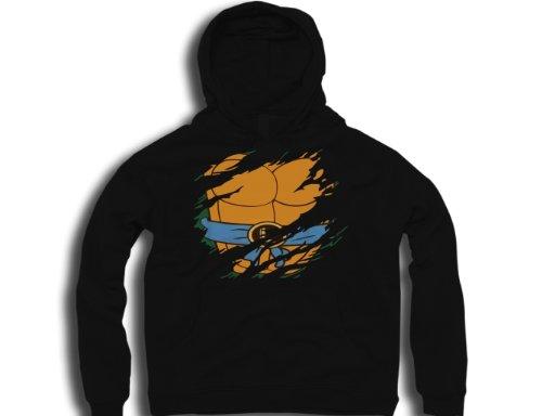 DTG Clothing Retro teenage mutant ninja turtles leonado ripped effect under shirt tmnt Mens Hoodies - Black - Mens Small