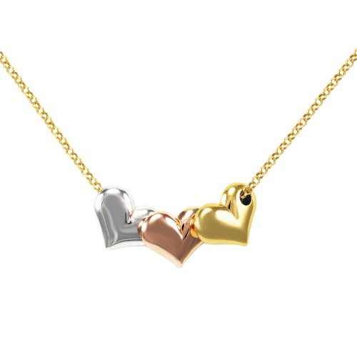 Bonded Sterling Silver and 14k Tri-Color Gold Hearts Pendant Necklace , 17