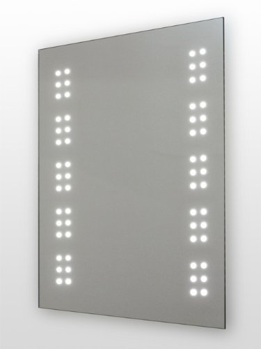 LED Illuminated Bathroom Mirror, (h)700 x (w)500mm IP44 Rated with On/Off Infra-Red Sensor, Demister Pad and Built-in 240v Shaver Socket