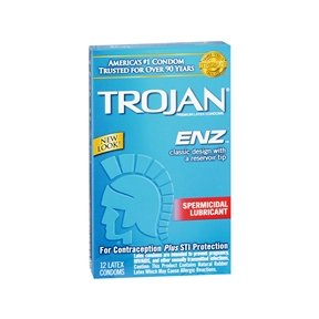 TROJAN Premium LAtex Condoms ENZ Spermicidal Lubricant, 12 Latex Condoms
