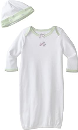 Little Me Baby Girl Newborn Petite Rose Gown and Hat, White Floral, 0-3 Month
