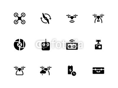 Alu-Dibond-Bild-120-x-90-cm-Quadcopter-and-flying-drone-icons-on-white-background-Bild-auf-Alu-Dibond
