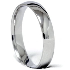 Pompeii3 Inc. 4 MM Solid 14K White Gold Dome Plain High Polished Mens Womens Wedding Ring Band