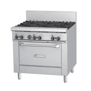 "Natural Gas and 120V Garland GFE36-4G12R 4 Burner 36"" Gas Range with Flame Failure Protection, 12"" G"