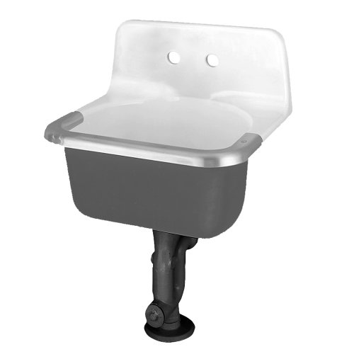 American Standard 7695.008.020 Akron Service Sink with Drilled Back on 8-Inch Center Holes and Rim Guard, Glossy Porcelain