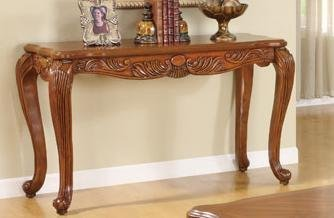 Cheap Console Table with Scroll Legs in Brown Finish (VF_F6223)