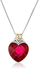 "XPY Sterling Silver and 14k Yellow Gold Created Ruby Heart and Diamond-Accent Pendant Necklace, 18"" from Amazon Curated Collection"