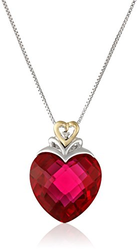 St Silver & 14k Yellow Gold Created Ruby & Diamond Pendant Necklace