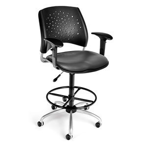 OFM Stars Swivel Chair with Vinyl Seat with Arms and Draftin