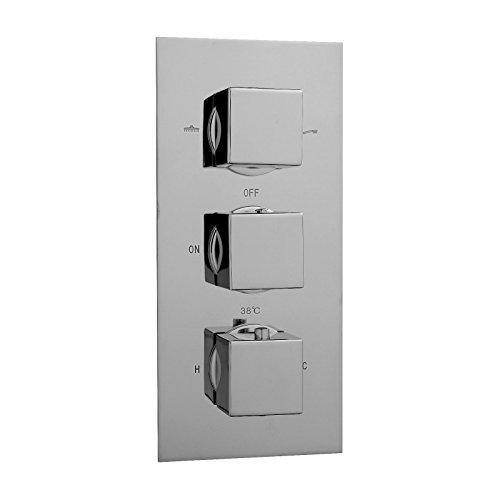 ENKI - Miscelatore termostatico a incasso per doccia - quadrato 3 manopole/2 vie