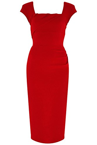 Jabey Women's Elegant Backless Homecoming Pencil Dress (Large, Red)