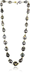 "Vibes ""Edgy"" 18 Karat Gold Tahiti Pearl and Raw Diamond Necklace"