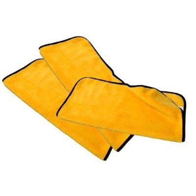 3pcs Deluxe Microfiber Towels For Car Detailing & Household Cleaning 16x16 Yellow/Black Trim