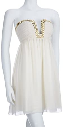 Lipsy Womens Jewelled Plunge Neck Dress Cream 12