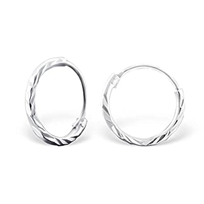 Small Diamond Cut Sterling Silver Sleeper Hoop Earrings by Kate Benson, Size: 10mm