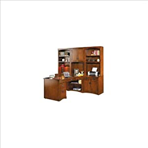 Kathy Ireland Home by Martin Furniture Mission Pasadena Collection Peninsula Wood Office Set with Hutch in Cherry