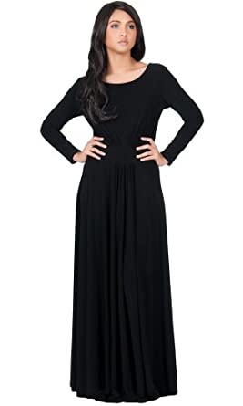 Koh Koh Women's Designer Round Neck Long Sleeve Maxi Dress - X-Small - Black