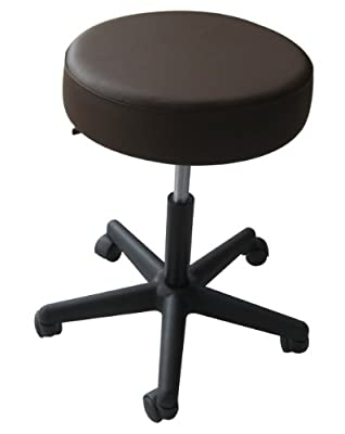 Sivan Health and Fitness Rolling Adjustable Stool for Massage Table, Chocolate