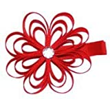 A Girl Company Red Ribbon Flower Hair Clip