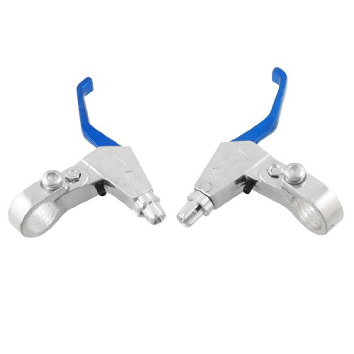 Como 1 Pair Bike Bicycle Aluminium Handle Brake Levers Blue Silver Tone