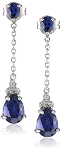 Sterling Silver and Created Sapphire with Diamond Accent Drop Earrings