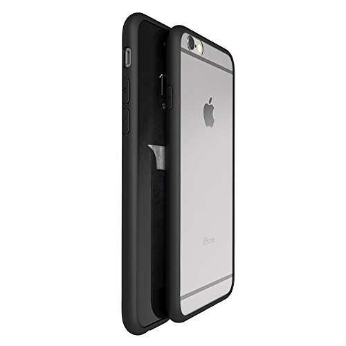 OnPrim Superior Ultra Thin Slim Fit Clear Frame Hybrid Flexbile TPU Case With Tempered Glass Film For iPhone 6 6s 4.7 Inth Black