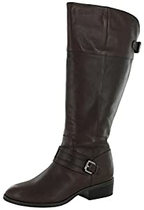 Lauren Ralph Lauren Women's Maritza Wide Calf Riding Boot, Dark Brown, 8 B US