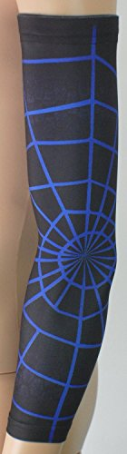 Nexxgen Sports Apparel Compression Arm Sleeve (Single)- 40 Styles and Colors- Men, Women, Youth - Basketball Shooter, Football, Baseball, Lymphedema, Tattoo (Youth Large, Blue Spiderweb)