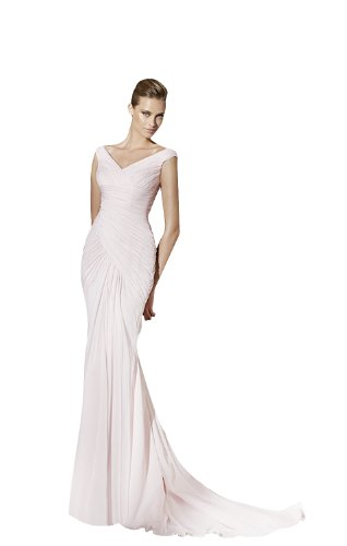 Sheath/Column V-Neck Court Train Chiffon Wedding dress with Draped