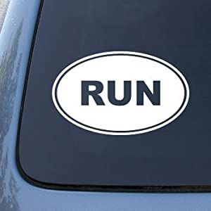 RUN - Running Jog Marathon - Vinyl Decal Sticker #1553 | Vinyl Color: White