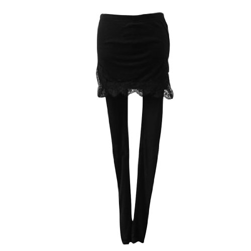 Allegra K Women Elastic Waist Pure Colors Textured Long Legging Skirt Black XS Image