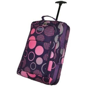 "21"" frenzy Cabin Approved Hand Luggage Wheeled Bag Trolley Bag Hand luggage Travel Bag (purple circles)"