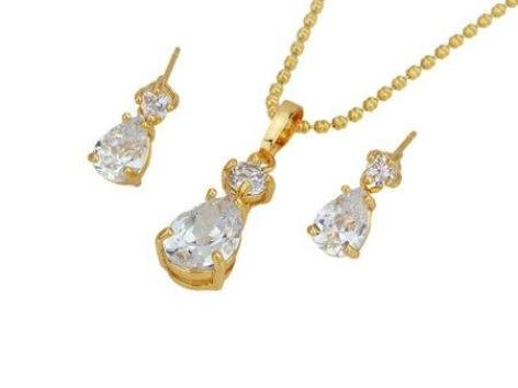 Tear Crystal Gold Plated Pendant & Chain and Matching Stud Earrings Fashion Jewelry Set