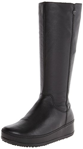 FitFlop Women's Superboot Leather Boot,All Black,5 M US