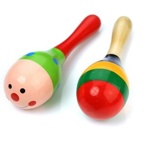 2 Wooden Wood Maraca Rattles Shaker Percussion Kid Baby Musical Toy Favor Gift