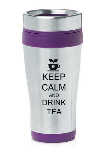 Purple 16Oz Insulated Stainless Steel Travel Mug Keep Calm And Drink Tea