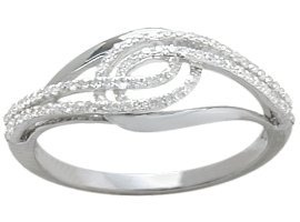 Genuine Sterling Silver Diamond Twist Style Ring - 7