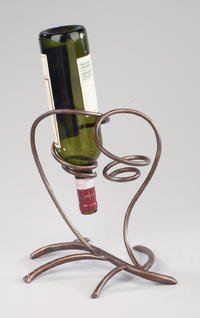 Tabletop Antique Bronze Metal Wine Bottle Holder ~ Elegant and Simple ~ Countertop ~ Shelf