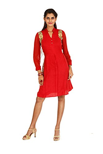 Bawree Women's Party Wear Raw Silk Kurti [67302_Red_Large]