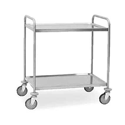 STAINLESS STEEL AISI 304 2 TIER CLEARING TROLLEY SERVING TRAY - CAN BE DISASSEMBLED - 1090 x 590 x 950 mm.