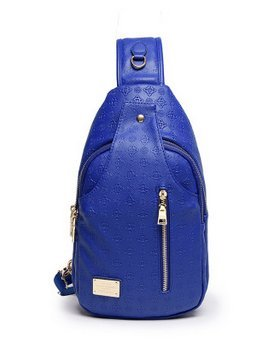 Donne Casual in pelle PU borsa a tracolla multiuso diagonale, Outdoor Chest - Zaino - blu