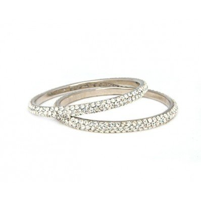 Bling For The Girls Limited Sylvia Silver Bangle, Small (Diameter: 5.89CM)