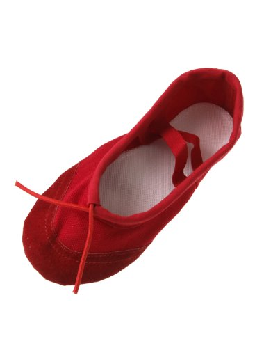 Girls Gymnastics Dancing Ballet Red Soft Canvas Flat Shoes Us Size 1 front-992697