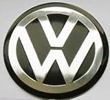 VW ALUMINIUM WHEEL CENTRE CAP CENTER SELF ADHESIVE 90MM SILVER BLACK GOLF PASSAT
