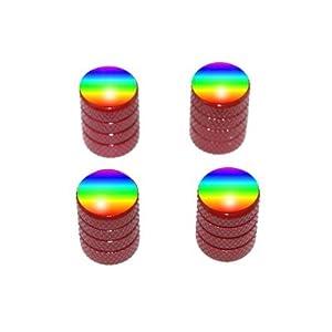 Rainbow - Gay Lesbian Tire Rim Valve Stem Caps - Red