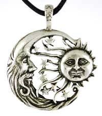 Sun Moon Windblown Celestial Amulet Charm Necklace
